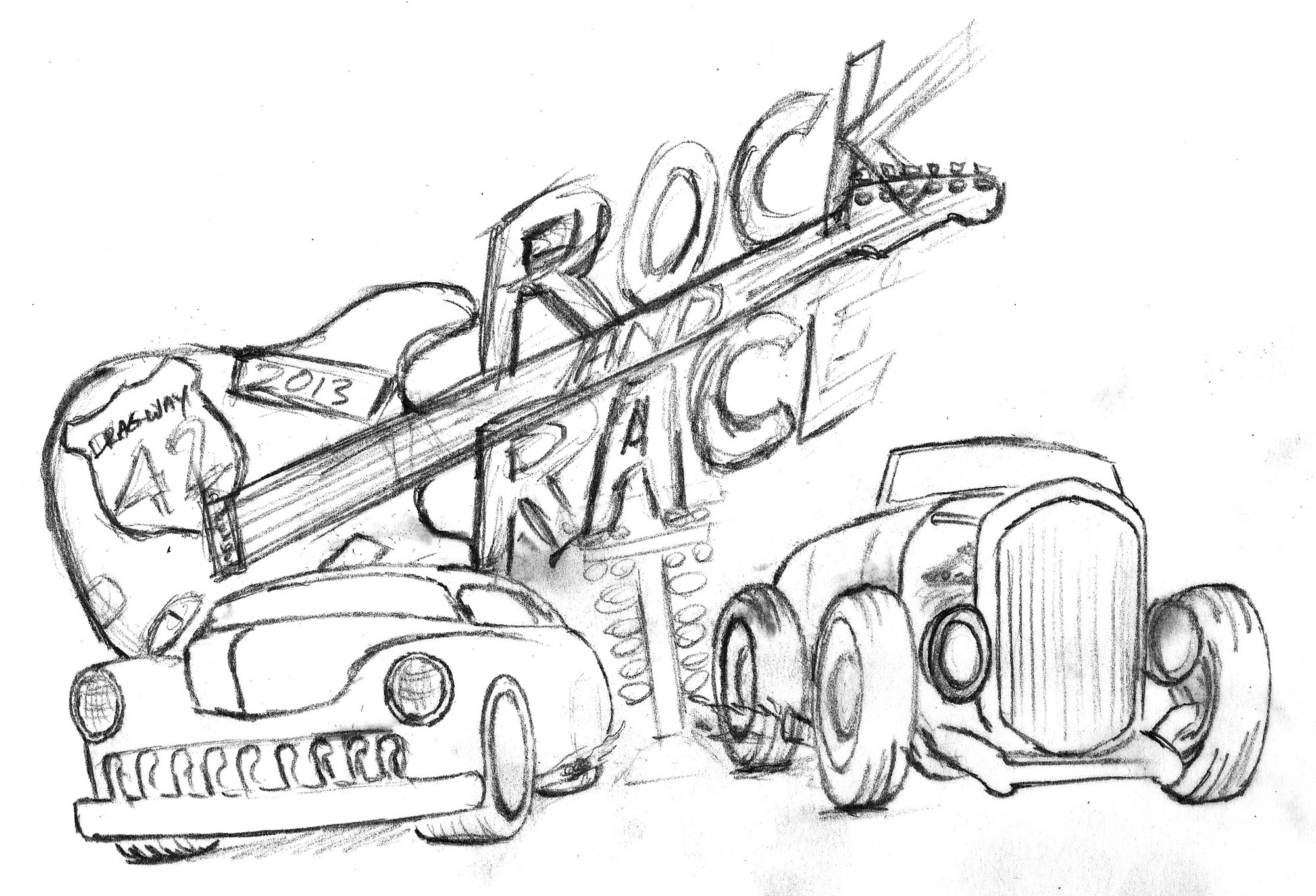 Original Sketch for Dragway 42 Rock and Race logo.