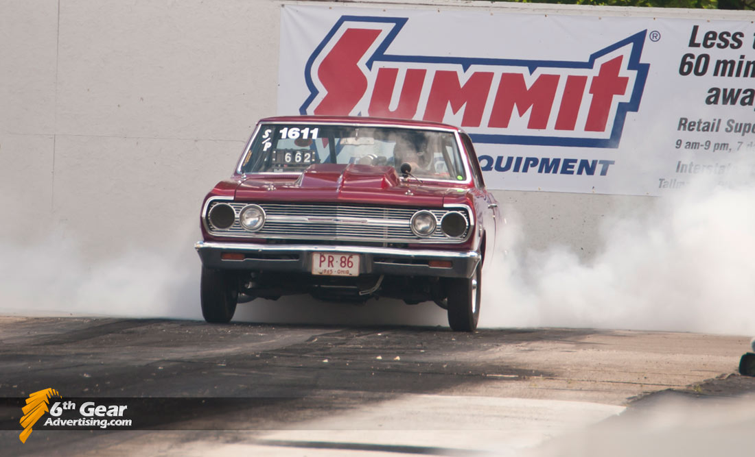 1965 Chevelle doing a massive burnout at Dragway 42's Rock and Race event.