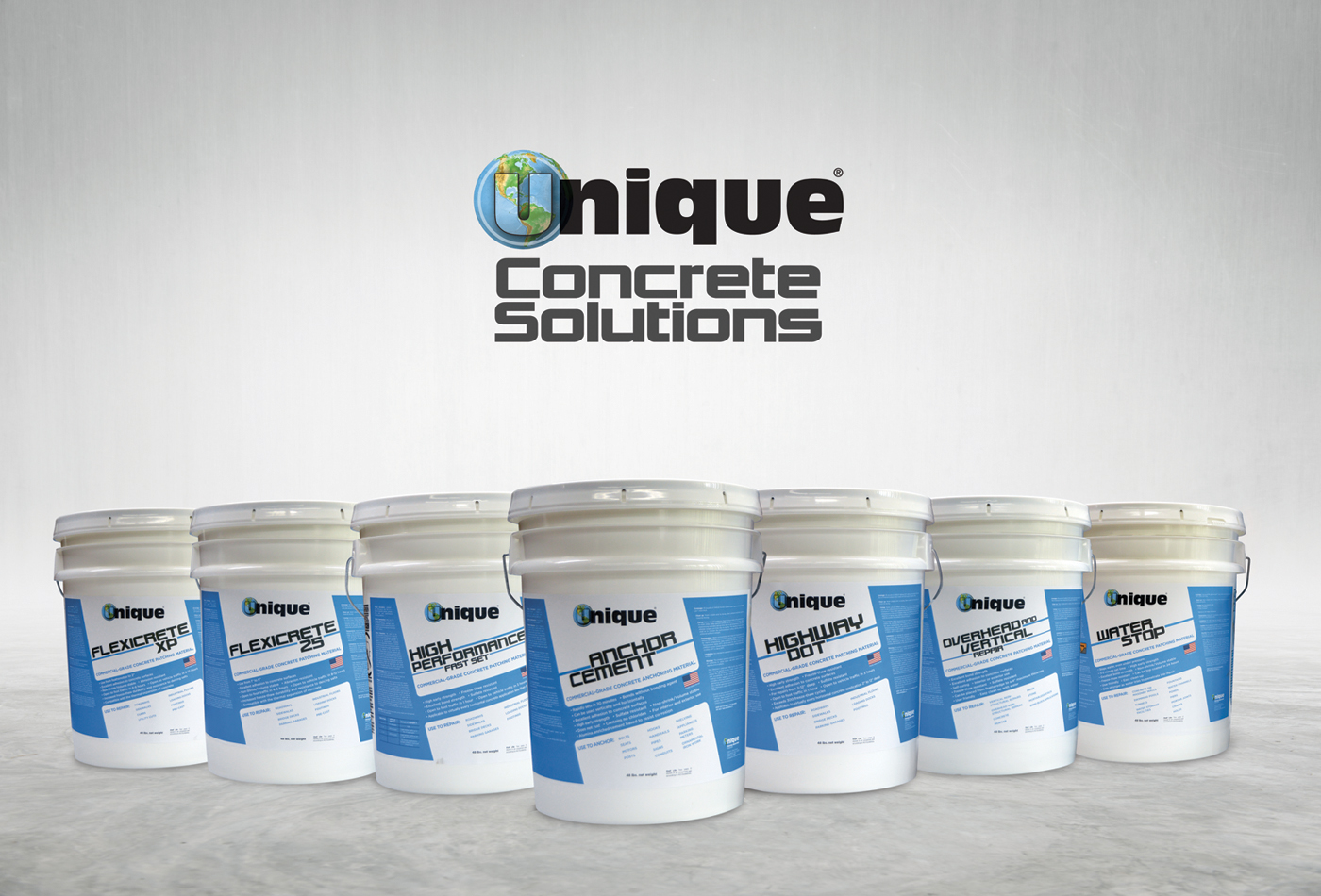 Unique Paving Materials Concrete Solutions product lineup.